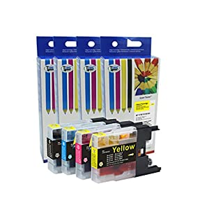 Compatible Ink Cartridges for Brother LC75 LC 75 MFC-J280W MFC-J425W MFC-J430w MFC-J435W MFC-J5910DW MFC-J625DW MFC-J6510DW MFC-J6710DW MFC-J6910dw MFC-J825DW MFC-J835DW by Cool Toner from Cool Toner