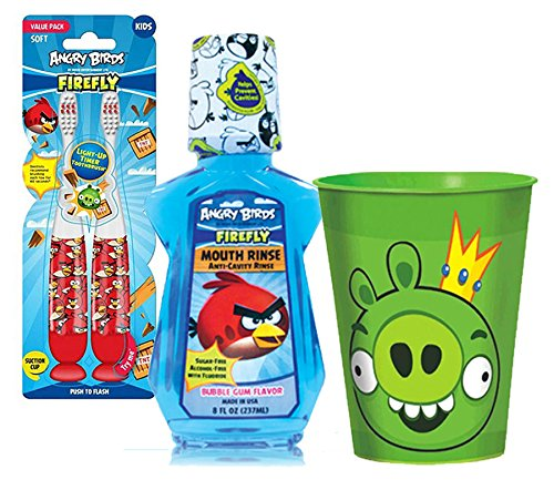 Angry Birds Inspired 4pc Bright Smile Oral Hygiene Set! (1) (2 Pack Bird Cups)