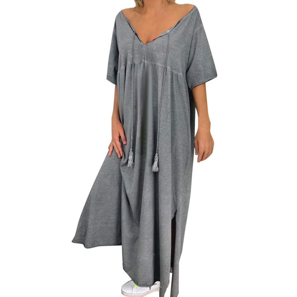 TRENDINAO Women Maxi Dress Summer Casual Split Short Sleeve Solid Loose V-Neck Dresses for Special Occasions Gray by TRENDINAO