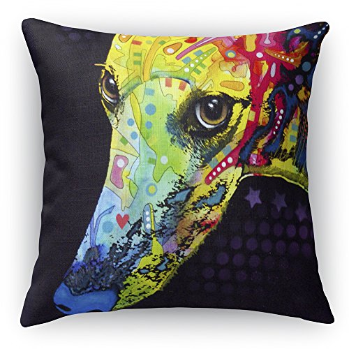 Greyhound Printed on a 18x18 inch Square Pillow Double-Sided Dean Russo