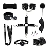 New 10 pcs Leather Restraints Premium LOVEAREA PU Faux Leather Extra Stimulation Bedding Accessories(Black)