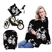 Nursing Breastfeeding Cover Scarf-Organic Cotton Baby Car Seat Canopy, Shopping Cart, Stroller, Car seat Covers by Metplus