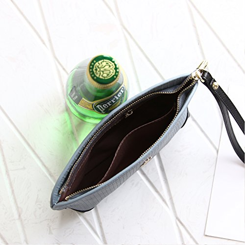 Damen Geldbörsen Clutch Bag, Münzfach für Frauen Große Kapazität Telefon Kosmetik Leder Brieftasche Reißverschluss mit Handschlaufe Grau / Blau