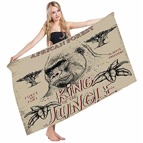 Mugod Beach Towel Bath Towels Wild Vintage Label Gorilla King of The Jungle Safari Adventure Force Yoga/Golf/Swim/Hair/Hand Towel for Men Women Girl Kids Baby 64x32 -