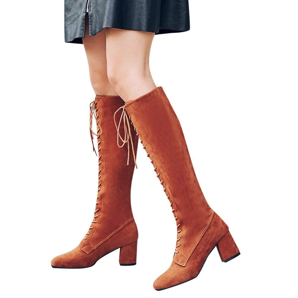 Geili Stiefel Damen Schnü rstiefel Langschaft Stoff Stiefel High Boots mit Blockabsatz Frauen Modische Ü bergrö ß en Lange Boots Hoher Absatz Cowboystiefel Reiterstiefel 36-41