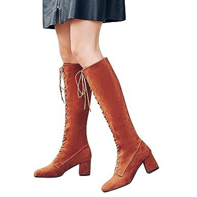 Zapatos Altos Talones,BBestseller otoño e invierno botas de mujer de tacón alto de gamuza de espesor delantero redondo Martin botas: Amazon.es: Ropa y ...