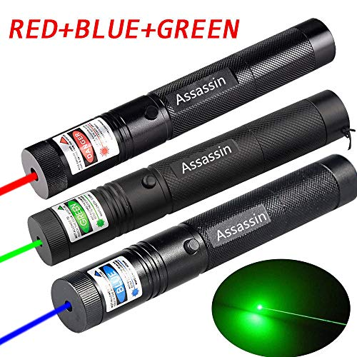 Laser Pointer High Power 3PCS | Green + Blue Violet + Red | Hunting Rifle Scope Sight Laser Pen, Remote Laser Pointer Travel Outdoor Flashlight, LED Interactive Baton Funny Laser Pointer Toys for Cat (Red Green And Blue Laser Pointer)