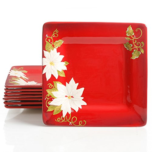Laurie Gates Pleasant Poinsettia 8 Pack 11.25in Dinner Plates