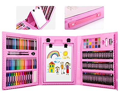 176 Pcs Art Set, Zooawa Sketching and Drawing Handle Art Box with Oil Pastels, Crayons, Colored Pencils, Markers, Paint Brush, Watercolor Cakes, Sketchpad for Kids and Toddlers - Colorful