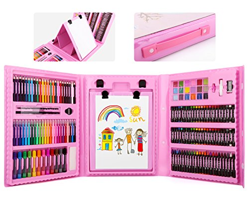 176 Pcs Art Set, Zooawa Sketching and Drawing Handle Art Box with Oil Pastels, Crayons, Colored Pencils, Markers, Paint Brush, Watercolor Cakes, Sketchpad for Kids and Toddlers - Colorful (Pastel Box The)