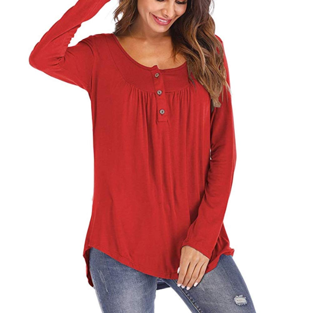 Kasoni Womens Long Sleeves Casual Swing Flowy Tank Tops Solid Color Loose Fit Pleated Tunic Shirts with Buttons Wine XL