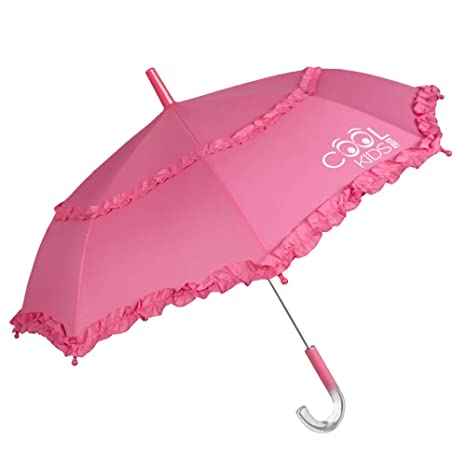 Paraguas Rosa Niña con Doble Volant y con Brillo en el Mango- Apertura Manual de