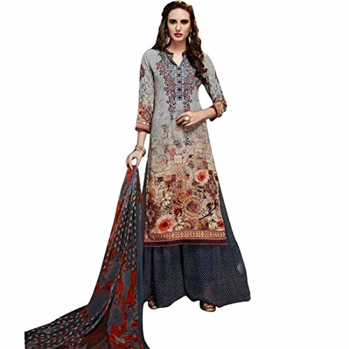 Designer Palazzo Pants Partywear Georgette Embroiderd Salwar Kameez – 0X Plus, Grey