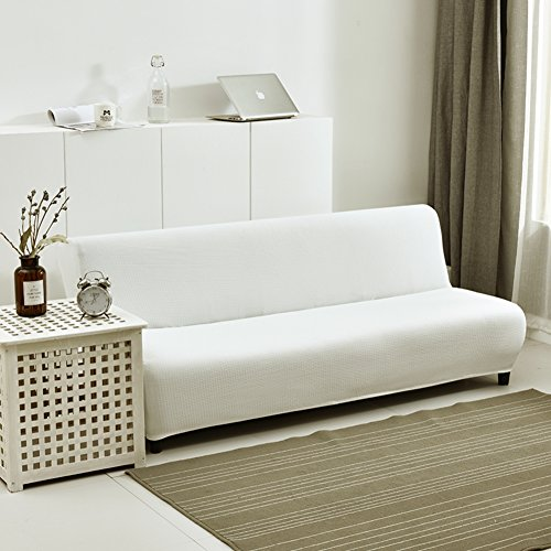 (HM&DX Stretch Armless Sofa Bed Cover,Polyester and Spandex Waffle Weave Knitted Solid Color Futon slipcover Sofa Cover-White 63-75in)
