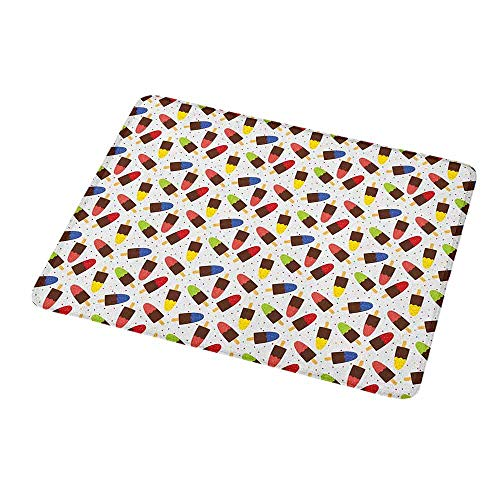 Mouse Pad Oblong Shaped Mouse Mat Ice Cream,Chocolate Popsicles with Different Flavors Scattered Among Colorful Little Dots,Non-Slip Thick Rubber Mousepad Mat 9.8