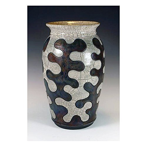 Raku Puzzle Pottery with crackle and copper glazes.