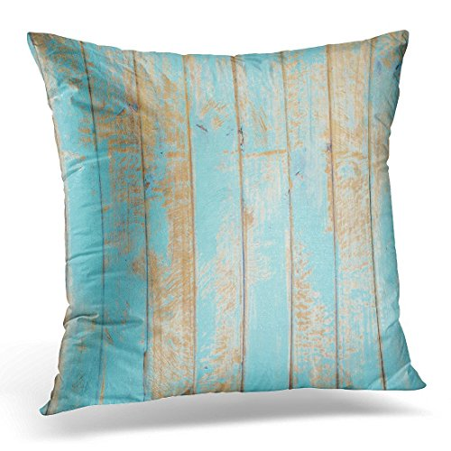 SPXUBZ White Color Rustic Wood Blue Colour Panel Timber Decorative Home Decor Square Indoor/Outdoor Pillowcase Size: 18x18 Inch(Two Sides) - Pillow Panel Cowboy