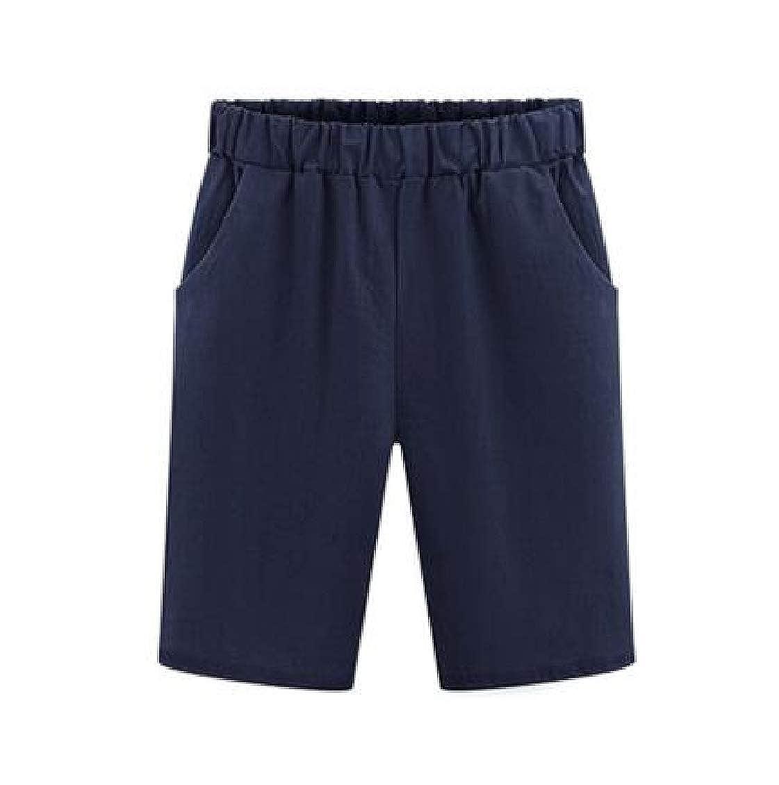 Spirio Womens Plus Size Solid Color Elastic Waist Harem Pants Casual Shorts