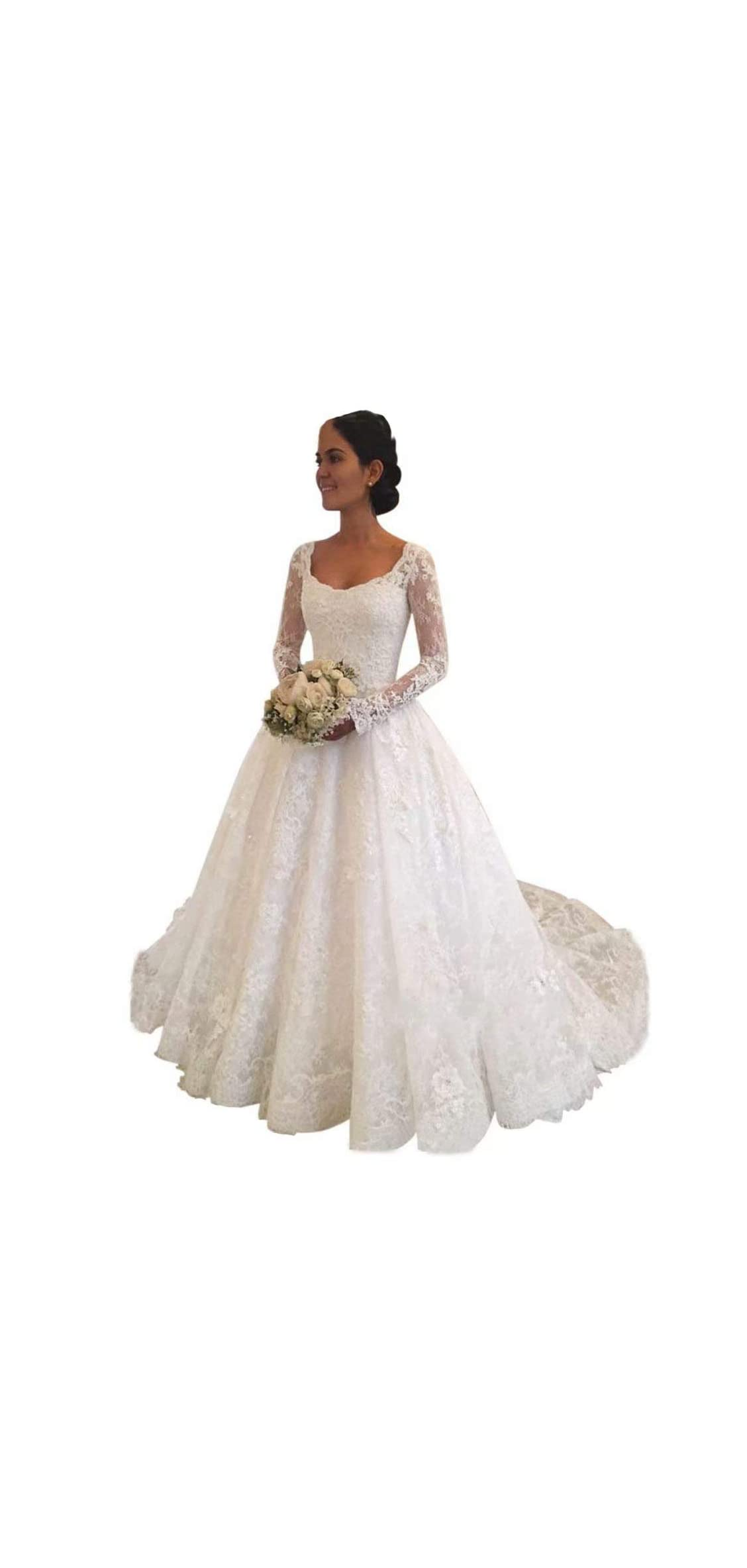 Princess Long Sleeve Lace Wedding Dresses Bridal Gown