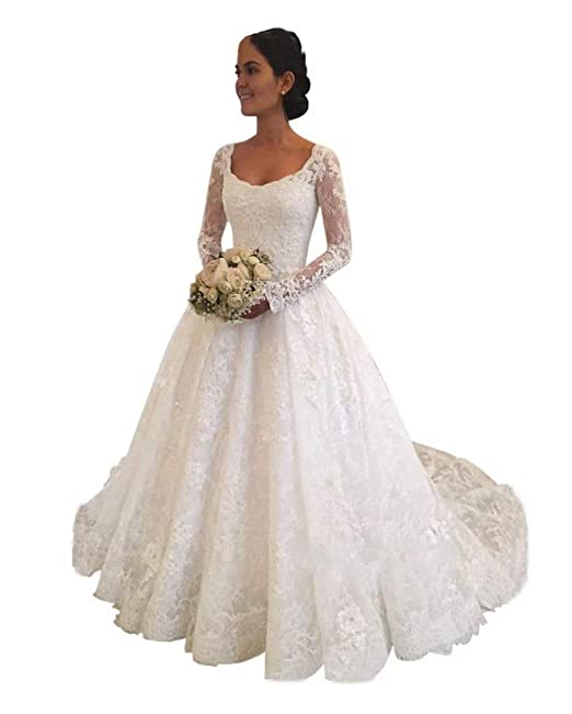 Xjly Princess Long Sleeve Empire Waist Lace Wedding Dresses Birdal Gown