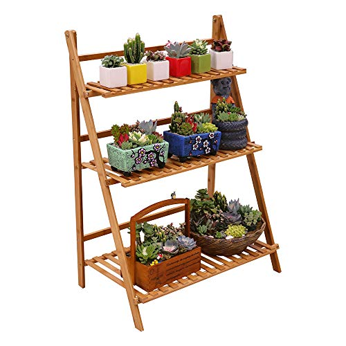 (Ufine Bamboo Ladder Plant Stand 3 Tier Foldable Flower Pot Display Shelf Rack for Indoor Outdoor Home Patio Lawn Garden Balcony Organizer Planter Holder )