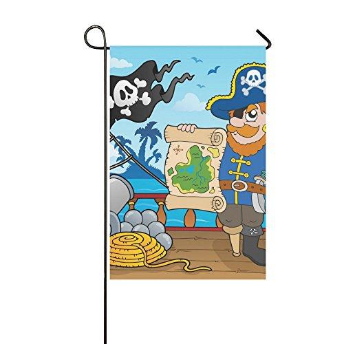 Fantasy Design Pirate Ship Polyester Garden Flag Banner 12 x
