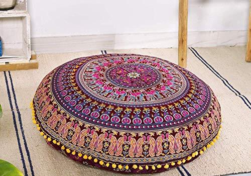 Popular Handicrafts Large Hippie Mandala Elephant Floor Pillow Cover - Cushion Cover - Pouf Cover Round Bohemian Yoga Decor Floor Cushion Case- 32