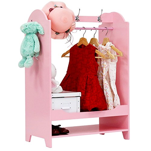 Kids Armoires (Kinbor Pink Cute Kid's Furniture See and Store Dress up Storage Center Closet Armoire Cabinet with Mirror)