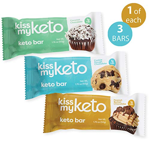 Kiss My Keto Bars – Low Carb (3g Net), Low Sugar Keto Snack Bars | Chocolate Variety Pack, 3 Pack | Rich in Ketogenic Fats & Protein