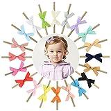 Lovomo 16PCS Baby Nylon Headbands Hairbands Hair Bow Elastics for Baby Girls Newborn Infant Toddlers Kids LGHB3