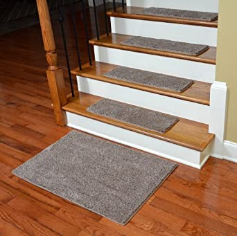 Dean Premium Super Soft 50 oz. Plush Carpet Stair Treads - Hudson Tweed (13) with 2'x3' Landing Mat