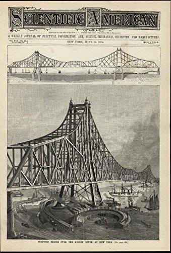 Proposed Bridge Hudson River New York Railway Yard 1894 vintage scientific (Railway Yard)