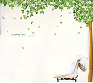 SSummer In Spring Trees Quote Tall Tree with Leaves Butterflies Wall Decal Home Decor Mural by SSummer