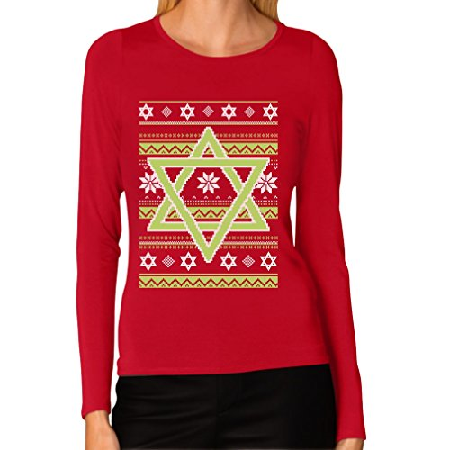 Hannukah Nights Ugly Holiday Sweater Star of David Women Long Sleeve T-Shirt XX-Large Red (David Christmas Sweater Star Of)