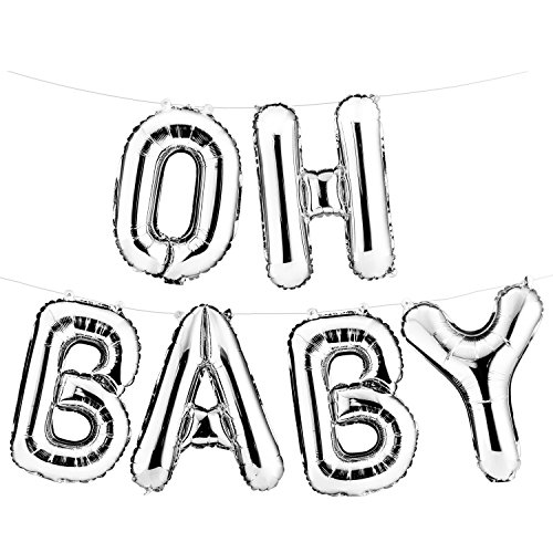 """16"""" Set of Silver """"OH BABY"""" Letters/ Alphabets Foil Balloons 