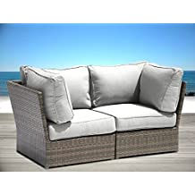Living Source International Lucca collection Outdoor Furniture Patio Sofa Couch Garden, Backyard, Porch or Pool All-Weather Wicker with Thick Cushions by Loveseat