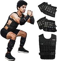 LEKÄRO Adjustable Weighted Vest 44LB Weight Training Workout Fitness Boxing Jacket Sleeveless Garment (Includi