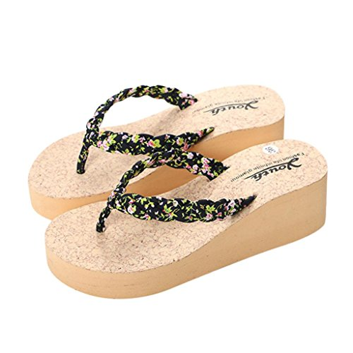 Flip Flop Sandals for Woman,Leedford Sandals Embroidered Slippers Casual Outdoor & Indoor Flip-Flops Thong Beach Slipper Wedges (US:7.5, Black) (Slippers Comfy Embroidered)