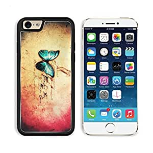 Forever Gone Bright Blue Butterfly Apple iPhone 6 TPU Snap Cover Premium Aluminium Design Back Plate Case Customized Made to Order Support Ready Luxlady iPhone_6 Professional Case Touch Accessories Graphic Covers Designed Model Sleeve HD Template Wallpape