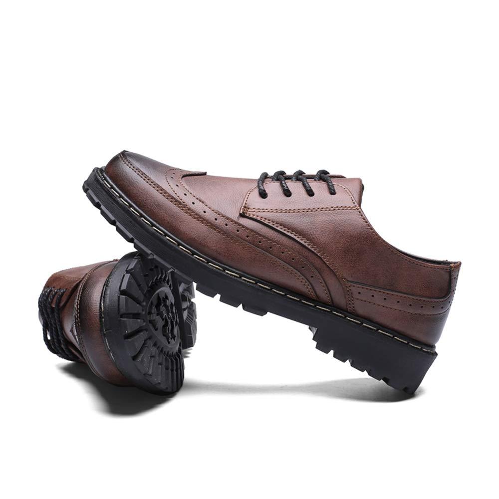 Color : Marr/ón, tama/ño : 43 EU Apragaz Hombres Zapatos de Vestir Oxford Suela C/ómoda Casual Cinta de Limpieza Retro Zapatos Brogue