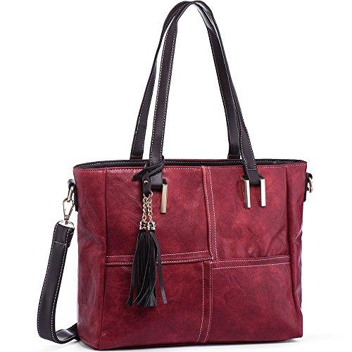 Handbags for Women JOYSON Tote Purse Shoulder Satchel Women's PU Leather Handbags Tassels Red by JOYSON
