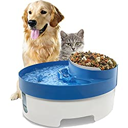 OxGord Pet Fountain Water & Food Bowl Feeder for Dog Cats with Water Filter