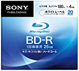 Sony Blu-ray Disc 20 Pack - 25GB 4X Speed BD-R - White Inkjet Printable [2010 Version]