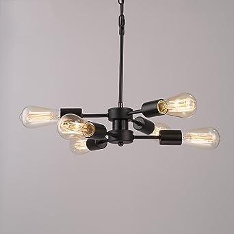 @Leuchter 6 Licht Sputnik Kronleuchter Schwarz Mitte Jahrhundert Moderne  Deckenleuchte Industrielle Pendelleuchte Für Küche