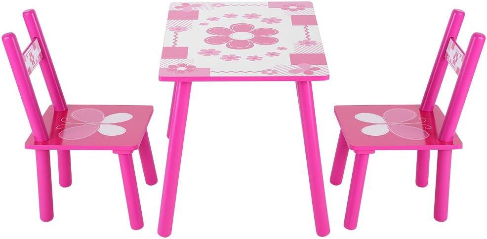 Juego de mesa y silla de madera para niños con diseño de flores, para aprender y jugar. Ideal como regalo educativo. Muebles para dormitorio y cuarto de juegos