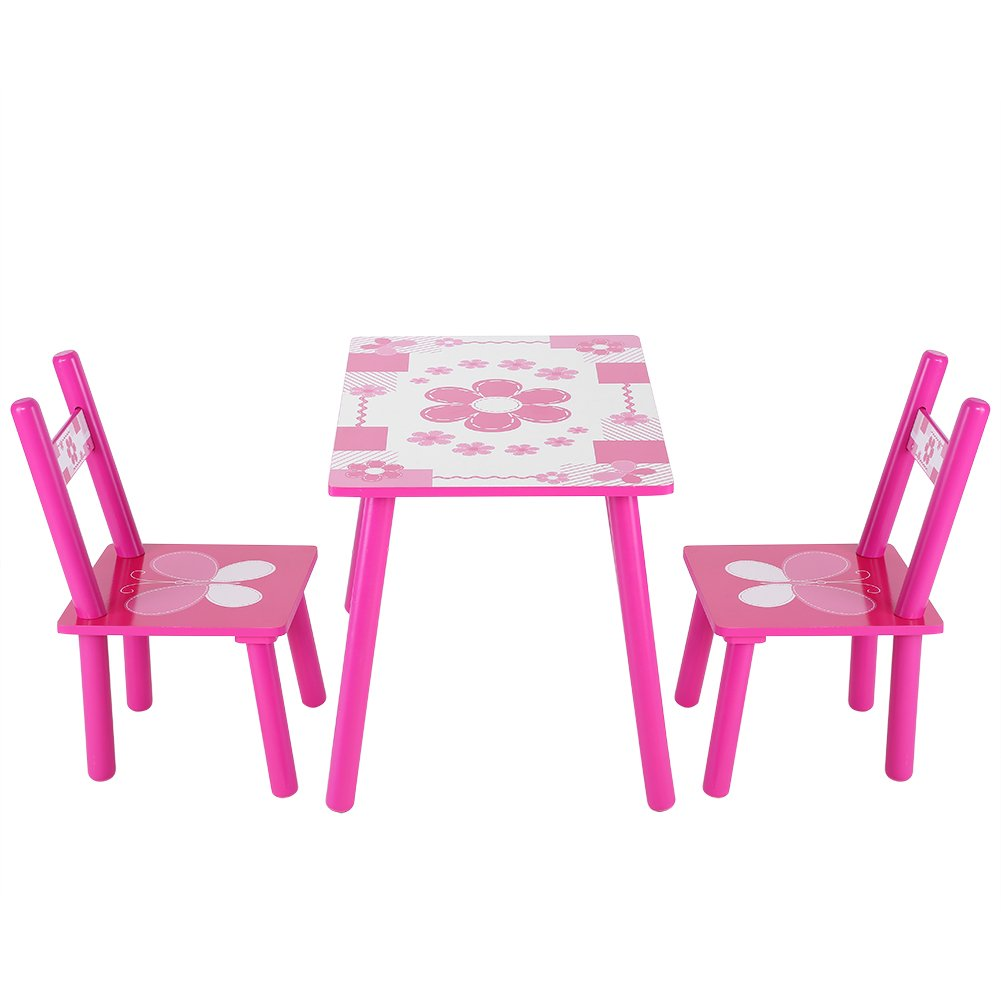 Table Chair Set for Girls,Flower Printed Pink Toddler Table for 1-5 Years Children Learning Table and 2 Chairs Set Kids Playroom Funiture Wooden Studying Painting Desk and Chairs for Home School Use
