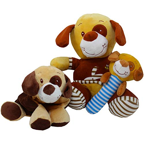 Sticks Krinkle - Art Of Appreciation Gift Baskets Plush Puppy, Stick Rattle With Squeaker, Krinkle Rattle, Velcro (plush Puppy With Eye Patch and T-shirt)