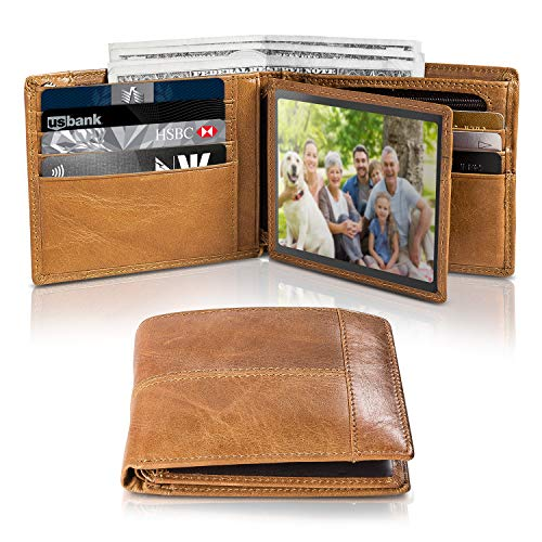 Mens Genuine Leather Bifold Slim Wallet RFID Blocking Secure with ID Window 16 Crad Holder Gift Box (Tan)