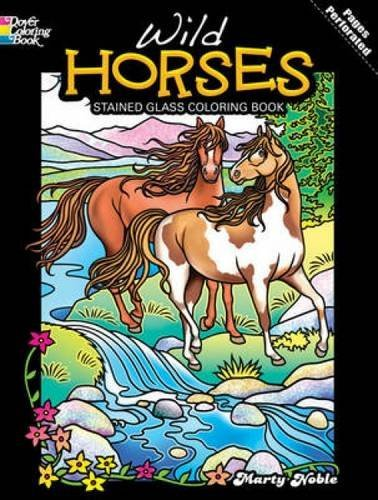 Beautiful Wild Horses Stained Glass Coloring Book