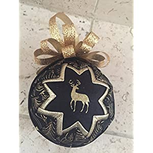 Golden Deer Fabric Holiday Christmas ornament 64